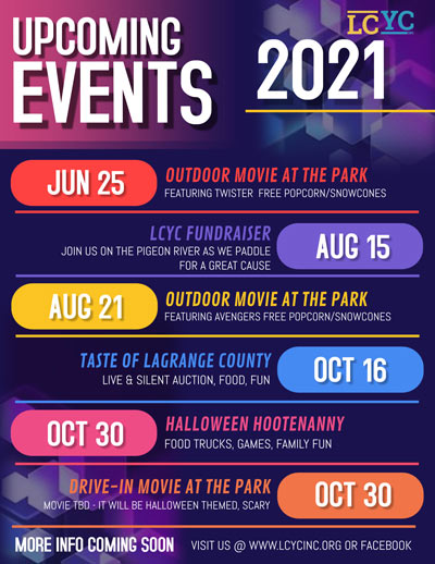 LCYC Upcoming Events for 2021
